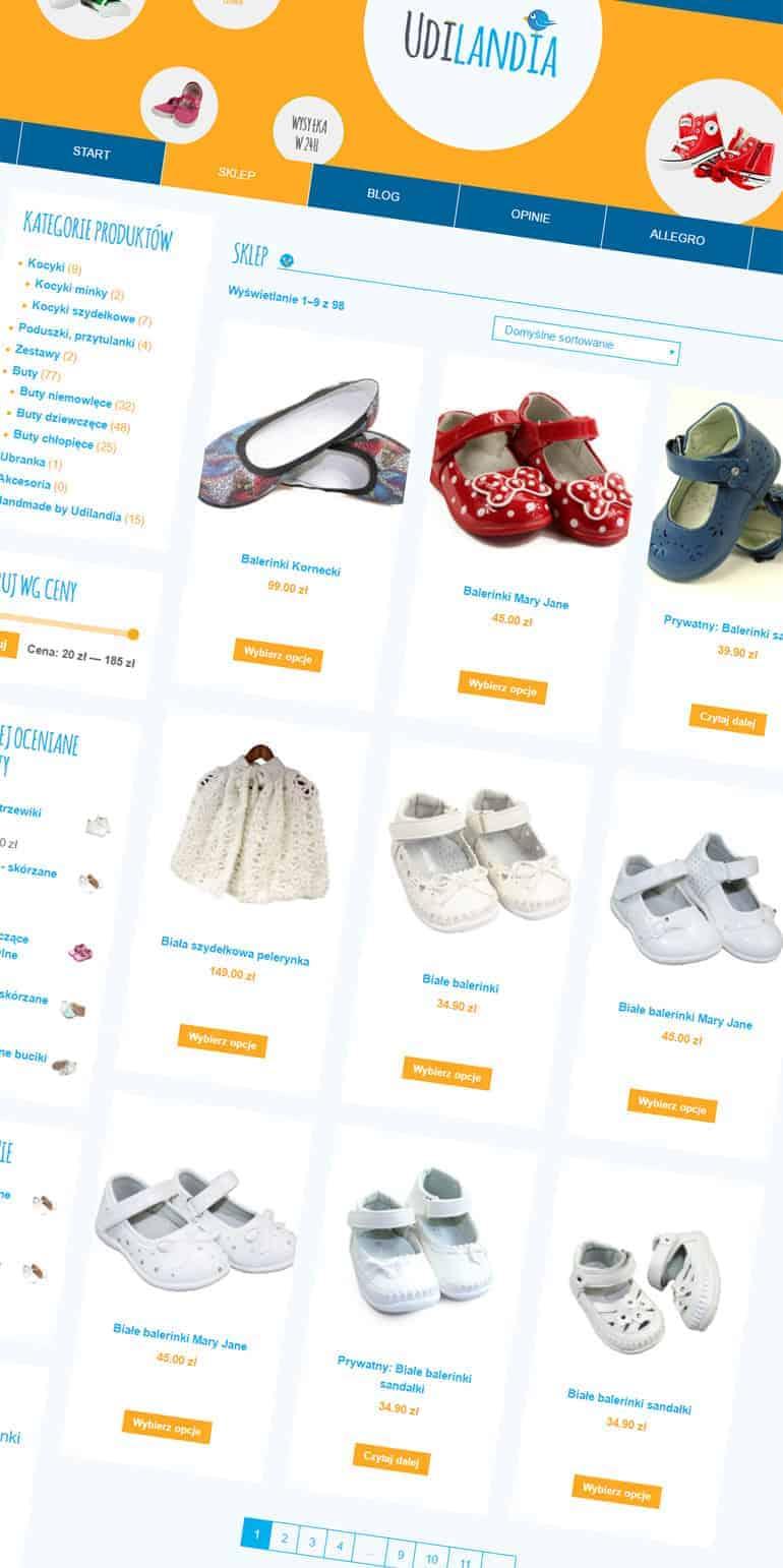 sklep internetowy na wordpress udilandia.pl